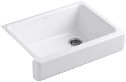 Kohler K-6486-0 Whitehaven Self-Trimming Apron Front Single Basin Kitchen Sink with Short Apron, White