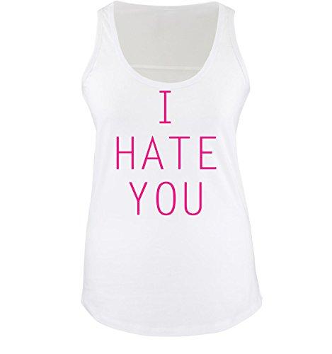 Comedy Shirts - I HATE YOU - Donna Tank Top canottiera - bianco / fucsia taglia XL