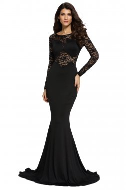 Cfanny-Womens-Lace-Sleeves-Mermaid-Prom-Evening-Dress