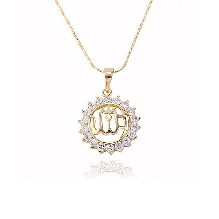Dainty 18K Gold Plated Allah CZ Necklace Pendant