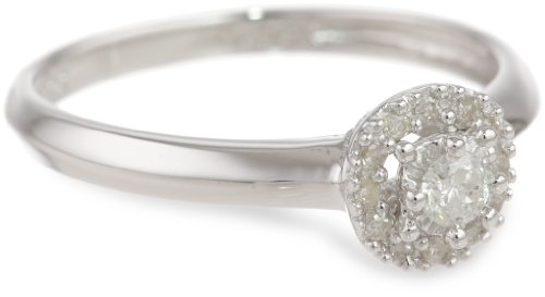 Sterling Silver Circle Cluster Diamond Ring (0.14 cttw, I-J Color, I2-I3 Clarity), Size 6