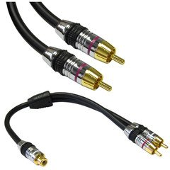 Cable Showcase Premium Grade Subwoofer Cable With Adaptor, 3 Ft