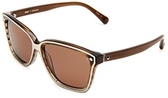 Rebecca Minkoff Perry Square Sunglasses,Blue Brown & Silver Frame/Rose Lens,One Size