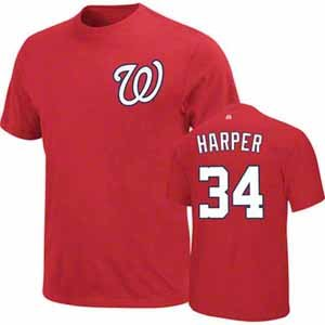 MLB Majestic Bryce Harper Washington Nationals Youth Name and Number T-Shirt - Red at Amazon.com