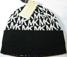 Michael Kors Knit Hat Black/white Mk Logo
