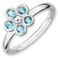 0.39ct Peaceful Silver Stackable Blue Topaz Flower Band. Sizes 5-10 Available