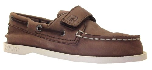 Boy's A O Hl Sperry Brown Velcro Boat Leather Shoes