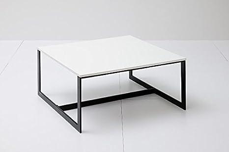 Couchtisch, Wohnzimmertisch, schwarz/weiß, matt lackiert, 80 x 80cm, quadratisch