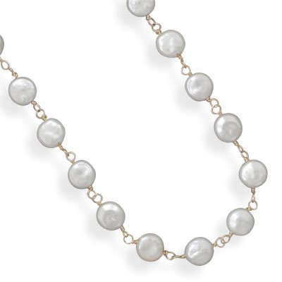 14/20 Gold Filled Cultured Freshwater Coin Pearl Necklace