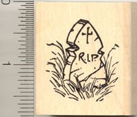 RIP Tombstone Rubber Stamp