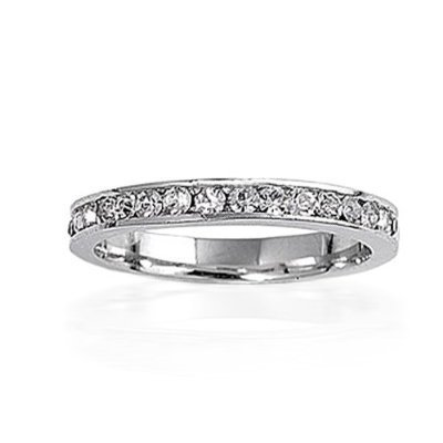 Bling Jewelry April Birthstone Sterling Silver CZ Eternity Band Ring