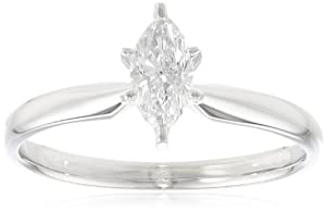 14k White Gold Marquise Diamond Solitaire Engagement Ring (1/2 cttw, H-I Color, SI2-I1 Clarity), Size 7