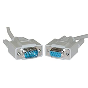 CableWholesale 15-Feet 9C, Serial Cable, 1:1 DB9 Male/DB9 Female Extension Cable (10D1-03215)