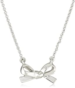 "kate spade new york ""Skinny Mini"" Silver-Tone Bow Pendant Necklace"