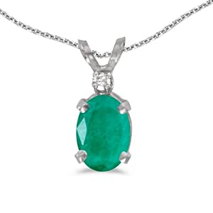 10k White Gold Oval Emerald And Diamond Pendant with 16