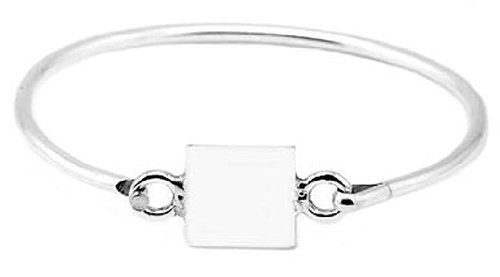 Silver Engravable Square Bangle Bracelet for Infant or Toddler