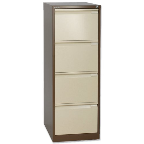 Bisley BS4E Filing Cabinet Flush-front 4-Drawer W470xD622xH1321mm Brown and Cream Ref BS4E-0506