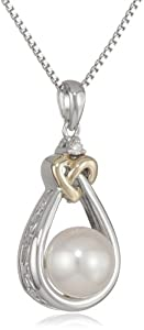 XPY Sterling Silver and 14k Yellow Gold 8mm Freshwater Cultured Pearl and Diamond Heart Knot Pendant Necklace (0.01cttw, I-J Color, I3 Clarity), 18