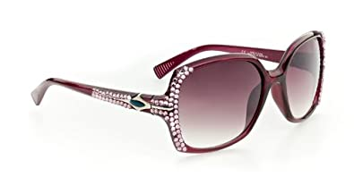 LaCosta Designer-Inspired High Fashion Sunglasses with Dozens of Genuine Swarovski Crystals For Stylish, Sexy Women (Fuscia w/ Rose Lens)
