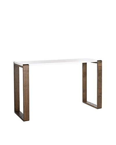 Safavieh Bartholomew Console Table, White/Dark Brown