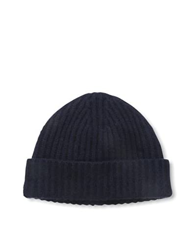 Portolano Men's Cashmere Hat Ribbed Beanie with Cuff, Navy