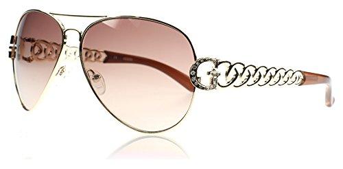 guess-g-chaine-lunettes-de-soleil-aviateur-en-or-brun-gu7255gld-34-63