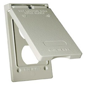 Hubbell Bell 5146-0 Weatherproof Single Gang Vertical Device Mount Cover Duplex, Gray