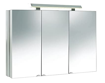 Alu-Mirror Cabinet with LED Lamp 80 x 68 cm Trio, 3 Front-Door