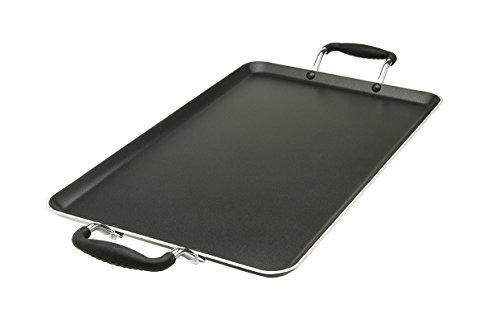 Ecolution Artistry Non-Stick Double Burner Griddle - Pure Heavy-Gauge Aluminum with a Soft Silicone Handle, Dishwasher Safe, Black, 12