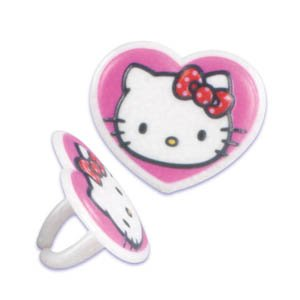 Hello Kitty Heart Cupcake Rings - 12 ct - 1