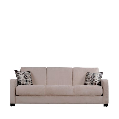 Handy Living CAC1-S4-AAA82 Cabo Living Room Convert-A-Couch Microfiber Sleeper Sofa, Khaki With 2 Decorative Mocha Circles Throw Pillows