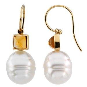 14k Yellow Gold S. Sea Cult. Pearl Citrine Earring 5mm 11mm - JewelryWeb