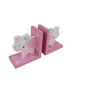 Hoddmimis Set of 2 Wooden Animal Themed Nonskid Bookends for Kids Home Decaration EBE02