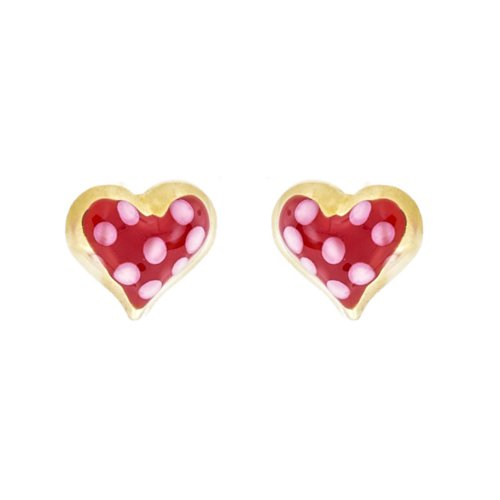 14k Gold Baby Earrings with Red and Pink Enamel