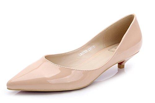 Katypeny Women's Low Heel Suede Dress Pump Nude Patent PU 8.5
