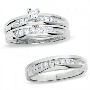 Very beautiful 3 pieces trio wedding ring set,