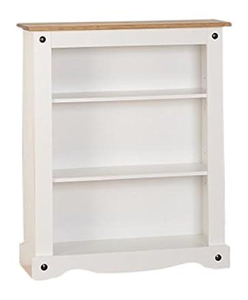 Seconique Corona–Libreria bassa, legno, bianco/legno di pino invecchiato e cerato