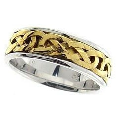 18K Two-Tone Gold Comfort-Fit Trinity Knot Band Celtic Wedding Ring