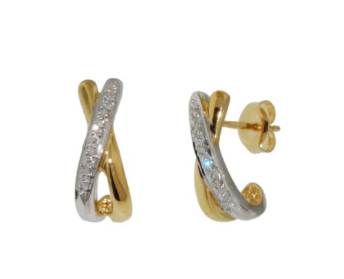 9ct Yellow Gold 0.05ct Diamond Pave Kiss Set Stud Earrings