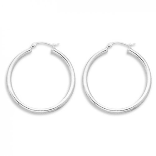 MMA Silver - 3mm x 35mm Hoop Earrings with Click