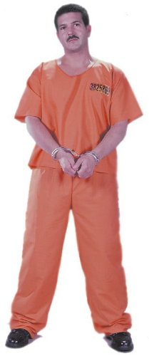 Morris Costumes Halloween Got Busted Jumpsuit/Orange front-885173