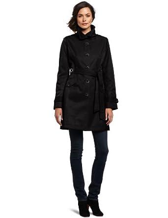 Via Spiga Women's Fall Rain Coat, Black, Small