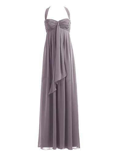 Diyouth Halter A Line Ziper Back Long Chiffon Bredesmaid Dress Grey Plus Size 24