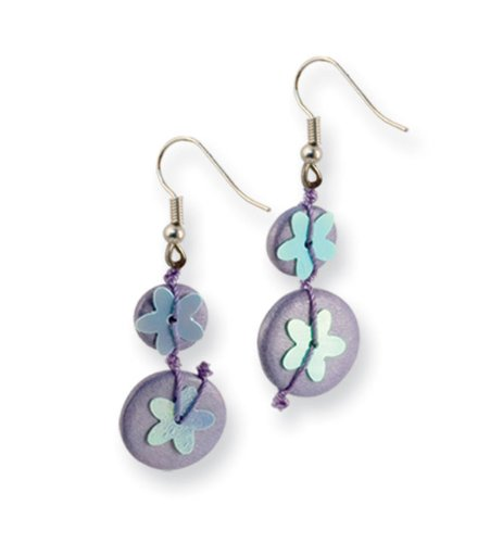 Purple Hamba Wood Bead Sequin Blue Flowered Earrings