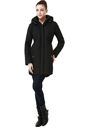 "BGSD Women's ""Angela"" Water Resistant Quilted Parka Coat - Black M"