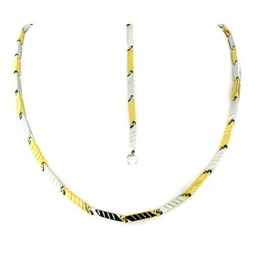 Men's Stainless Steel Two Tone Rectangular Link Bracelet & Chain Set