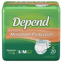 Depend Underwear, Protection with Tabs, Unisex, Maximum Absorbency, S/M 20 count from Kimberly-Clark Global Sales, LLC