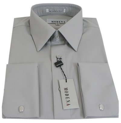 95295ac6 Cheap Mens Modena Solid Silver French Cuff Dress Shirt - Size 20 34/35  Review