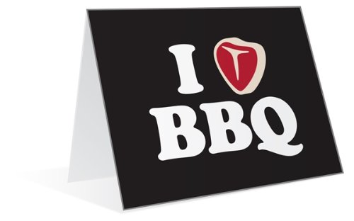 I Heart and Love BBQ Meat Steak Good for Men and Him Greeting Cards MMHC63