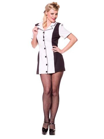 White Bowling Shirt Dress 50s Costume Retro Waitress Costume Theatre Costumes